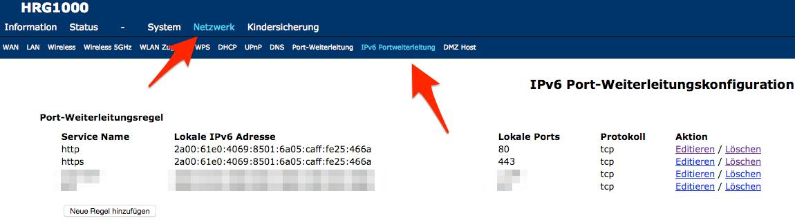 """IPv6 """"Portforwarding"""""""