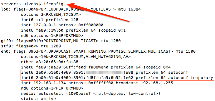 ifconfig unter Linux/Unix